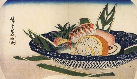Estampe d'Hiroshige, bol de sushi